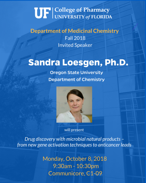 Seminar announcement for invited speaker Sandra Loesgen, Ph.D.